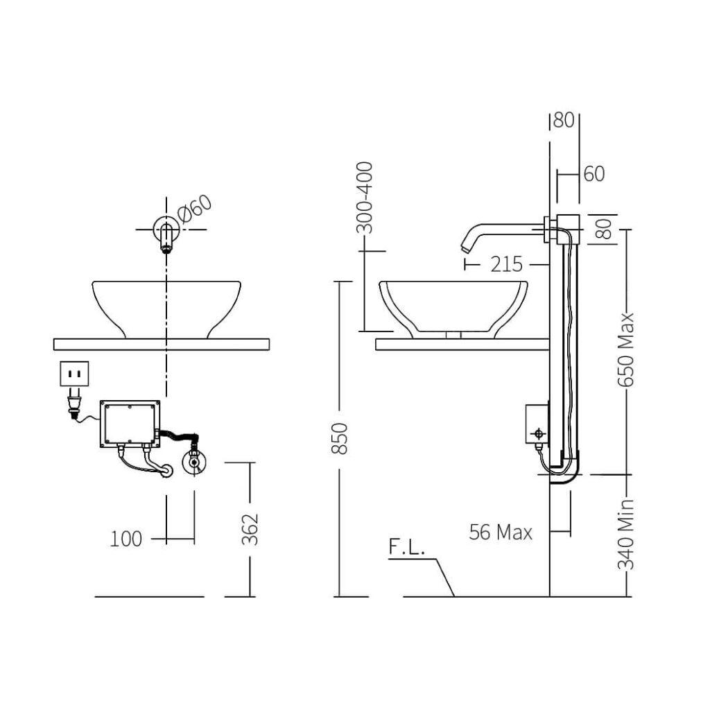 HCG AF4095 wall mounted sensor faucet
