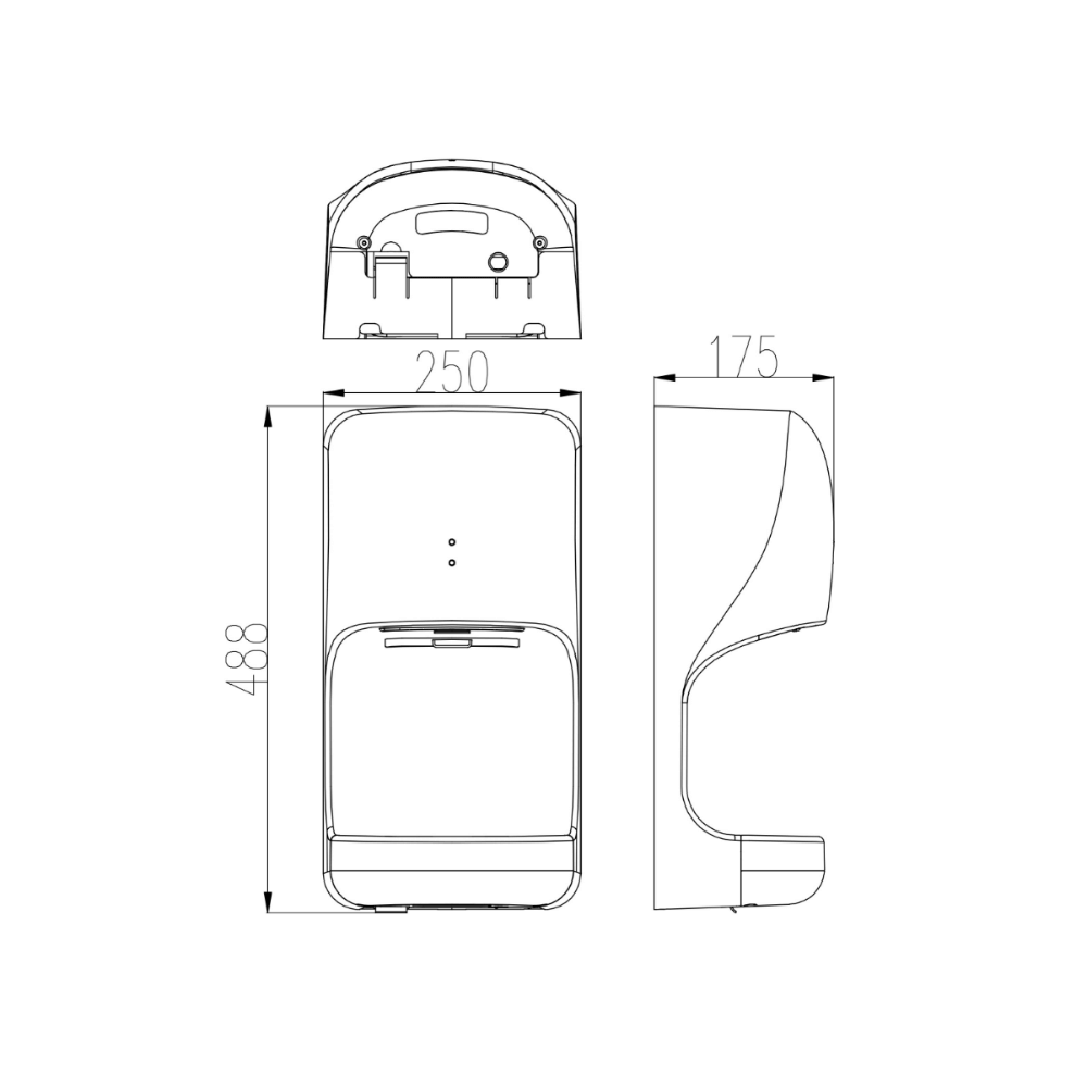 HCG HD5002AW touchless bathroom hand dryer technical drawing