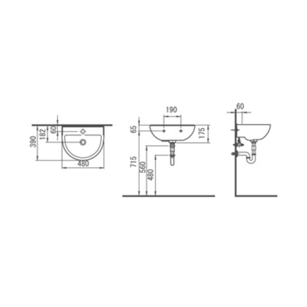 HCG Saturn L61 AW semicircle wall hung lavatory technical drawing