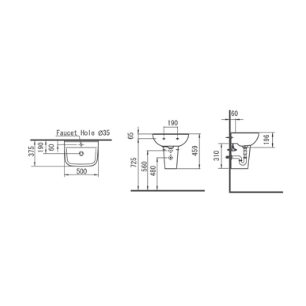 HCG Titan LF60S AW soft square short pedestal lavatory technical drawing