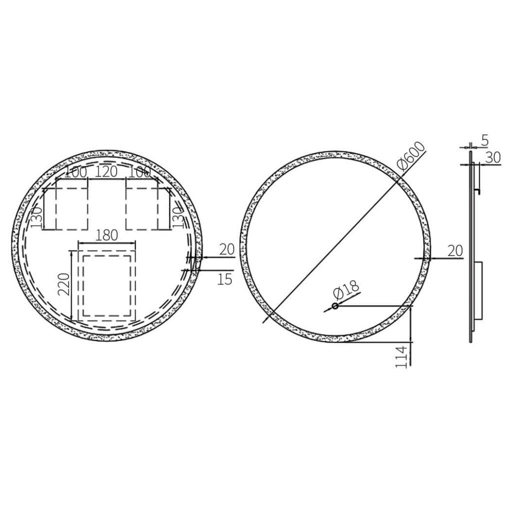 HCG BA893 frameless glass with backlight technical drawing