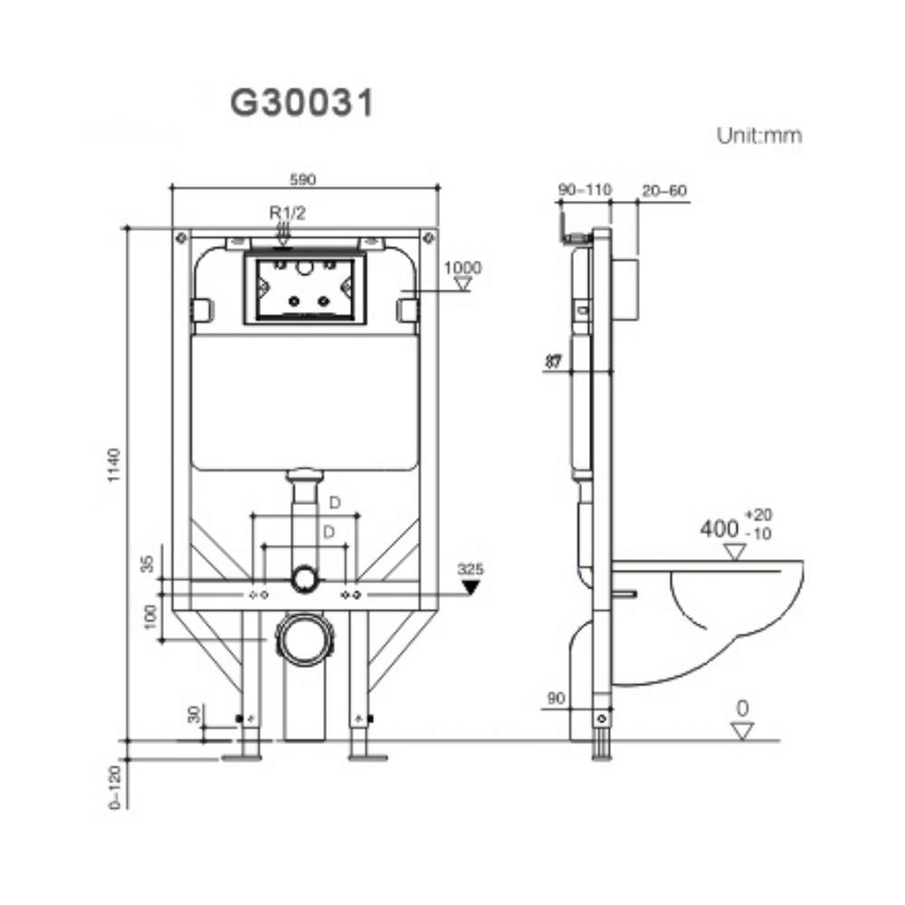 HCG G30031 toilet flush cistern