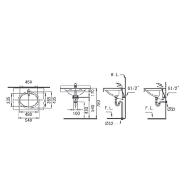 Moon L4011 AW Technical drawing