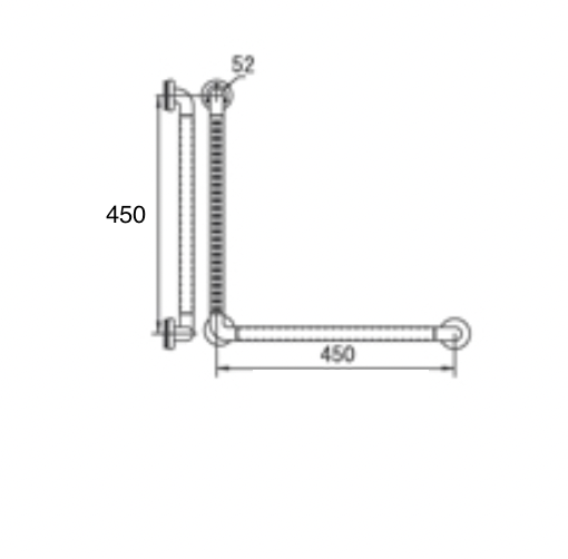 HCG GB400-45 AW L-type anti-bacterial ABS grab bar